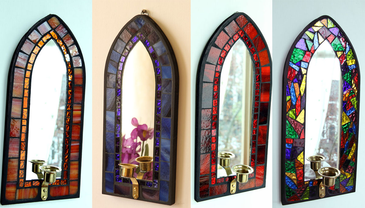 Stained glass gothic sconce candle holder mirror eBay